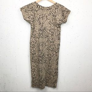 Young Lady New York Cheetah Back Plunge Dress Sz S